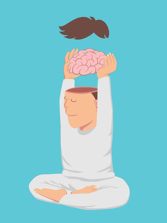 breathing exercise: White cloth peaceful man take off his brain isolated on blue background vector Illustration