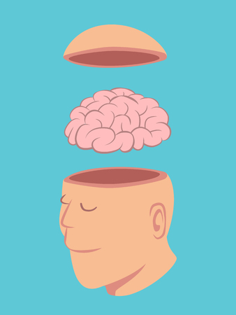 Head of Human opened to show brain isolated on blue background vector