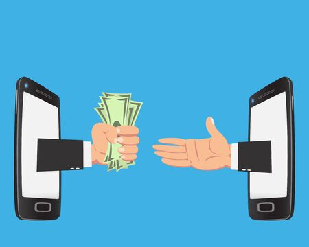 transfering: Hand of businessman with money show up from smartphone screen isolated on blue background