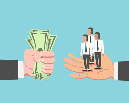 Hand of businessman with money buying employee and labor isolated on blue background