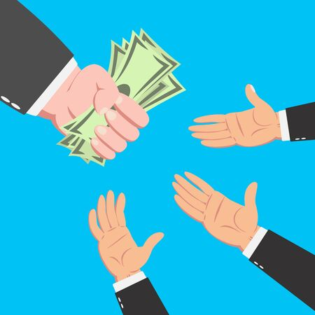 capitalism: Hands of businessman reaching the money from a hand of bigger businessman isolated on blue background