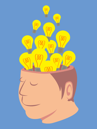 neurologist: Head of human with a lot of light bulb isolated on blue background vector