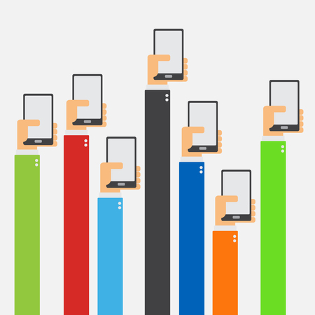 phone hand: Hands raised holding smartphone flat design on white background