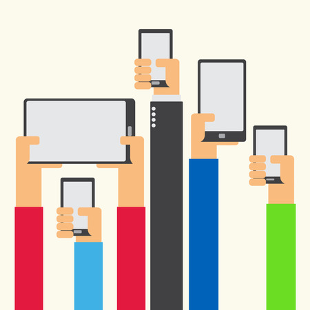 phone hand: Hands raised holding smartphone and tablet flat design on white background