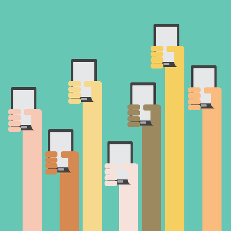 smartphone hand: Multi skin color hands raising smartphone flat design on green background