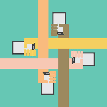 phone isolated: Four color arms with smartphone in hand bonding together inward on green background Illustration