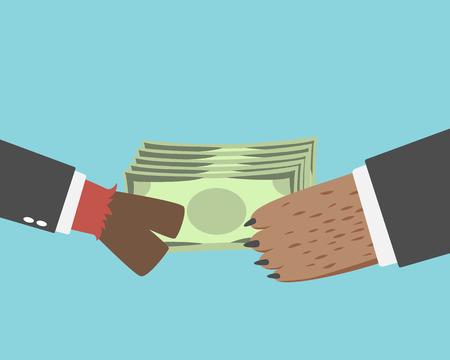 give money: BusinessBullman give money to the BusinessBearman isolated on blue background Illustration