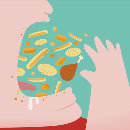 Close up of Fat Man Throw a lot of junk food in to his mouth