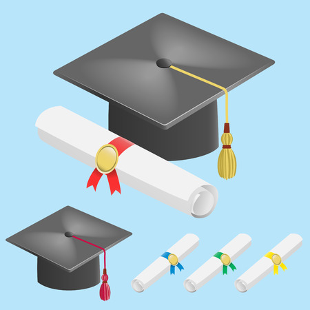 diploma: Casquillo y diploma de desplazamiento aislados sobre fondo azul