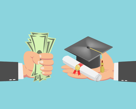 buyer: Hand of businessman with money buying a graduation cap and diploma scroll isolated on blue background