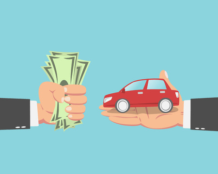 prices: Hand of businessman with money buying a car isolated on blue background