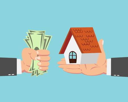 buy sell: Hand of businessman with money buying house isolated on blue background