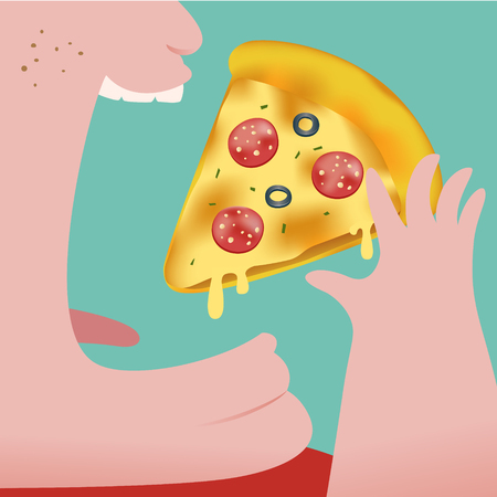 melted cheese: Close up of Fat Man eating pizza isolated on green background