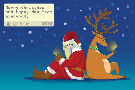 telephone cartoon: Santa claus and Reindeer sit on the ground  lean on each other sending a post  Merry Christmas and Happy New Year everybody! from theirs mobile phone in snowy night