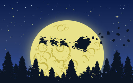 flew: Santa claus and his reindeer flying above the dark forest in Big yellow moon starry night with giftboxes flew from his bag Illustration