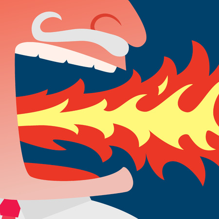 spitting: Close up of red face angry businessman spitting fire on dark blue background Illustration