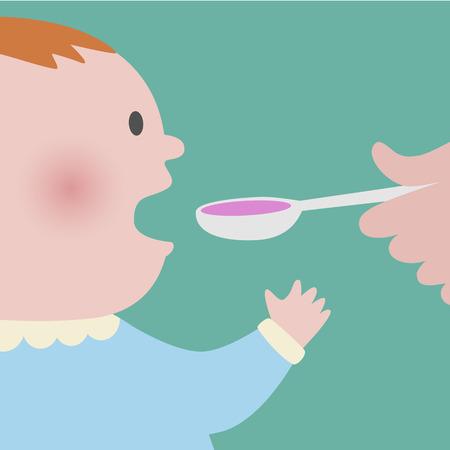 jarabe: Cierre para arriba del bebé tomando la cuchara de la medicina jarabe de color rosa
