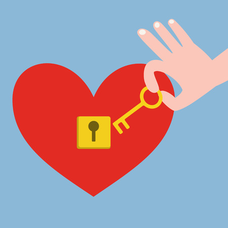 unrequited: Hand holding golden key with red heart with keyhole on blue background Illustration