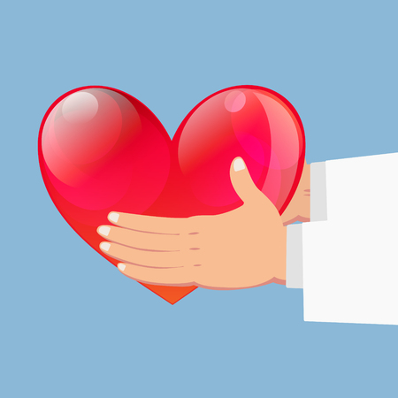 doctor holding gift: Close up of Hands holding red heart on blue background