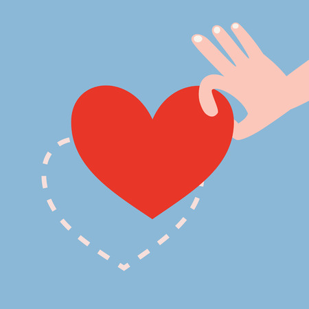 picking up: Hand picking up red heart on blue background with heart shape dash line