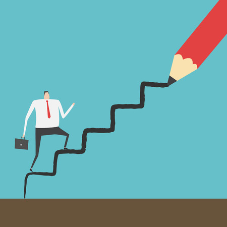 conquering: Businessman climbing up the ladder line drawn by red pencil