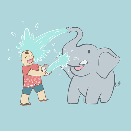 Baby elephant and happy tourist throwing water to each other in Thailand songkran water festival on blue background