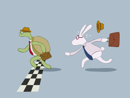 Turtle and rabbit in business style racing to the finish line