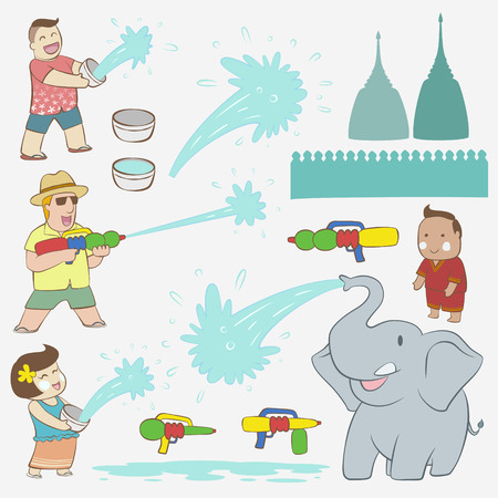 songkran: Songkran festival element with elephant and happy people and tourist and water gun Illustration