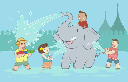 Songkran festival with elephant and happy people and tourist throwing water to each other on blue wall and pagoda background Illustration