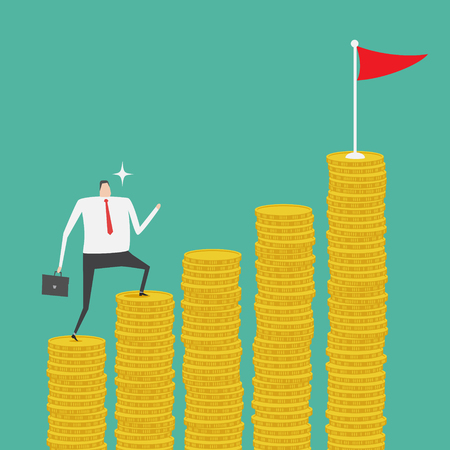 mutual funds: Businessman climbing up the stack of golden coin ladder