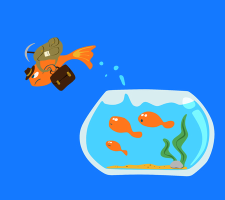 goldfish jump: Goldfish Jump out of the fish bowl isolated on blue screen