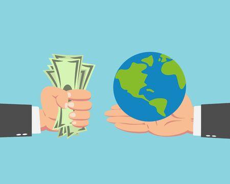 Hand van zakenman met geld die de wereld koopt geïsoleerd op blauwe achtergrond