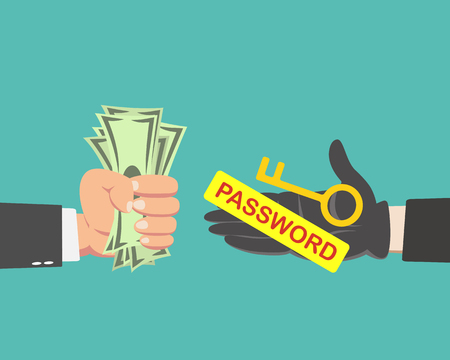 Hand of businessman with money buying a Key and password isolated on green background