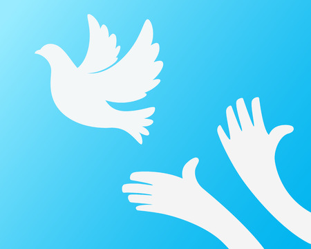 freeing: Close up of hand Freeing the white bird on sky blue background