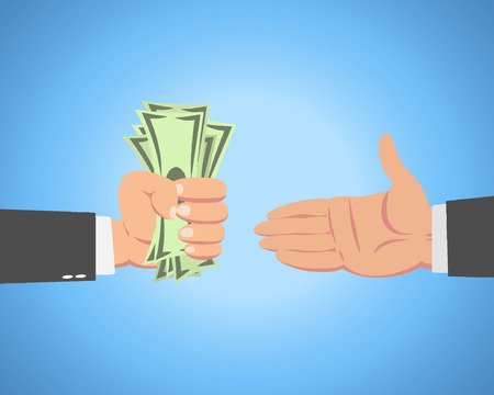Hand of businessman with money giving to another guy isolated on blue background