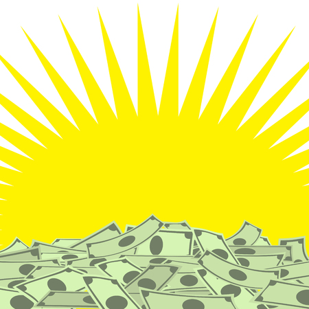 Pile of money on yellow star background with place for your text Illustration