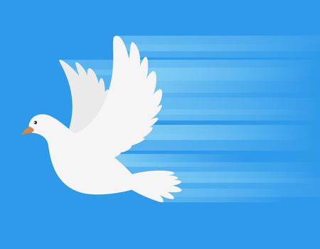 homer: White Dove flying with speed line vector illustration Illustration