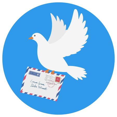 homer: Dove carrying an envelope vector illustration on blue background