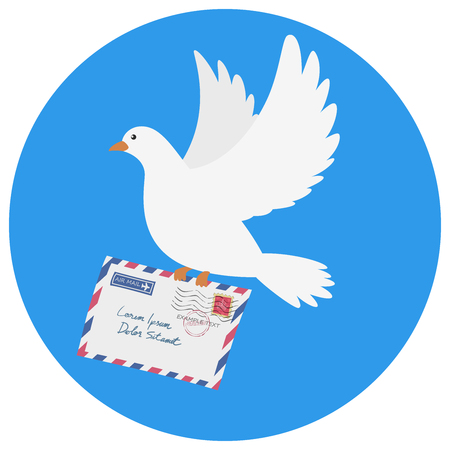 Dove carrying an envelope vector illustration on blue background