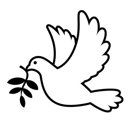 Colombe blanche portant illustration graphique de branche d'olivier Banque d'images - 83082656