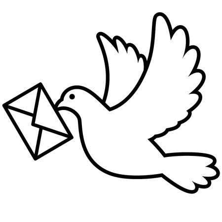 흰색 배경에 고립 된 봉투 비행 비둘기 조류