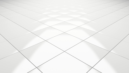 Clean white tile floor 3d rendering perspective Banco de Imagens