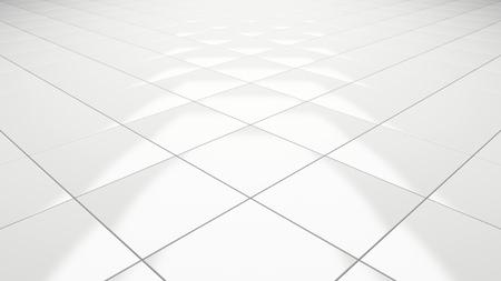 Clean white tile floor 3d rendering perspective Stockfoto