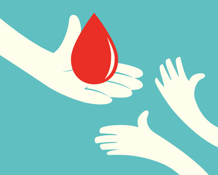 Close up of hand holding a drop of blood and hands of children on green background