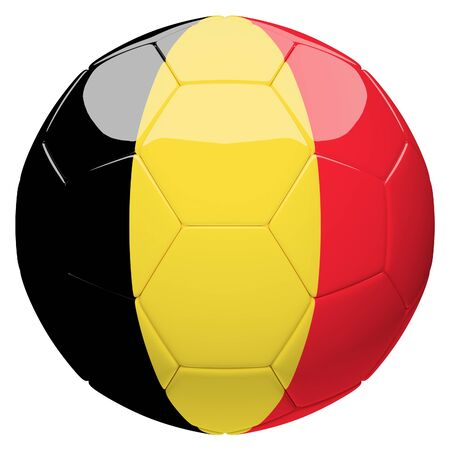 Soccer football with Belgium flag 3d rendering isolated on white background
