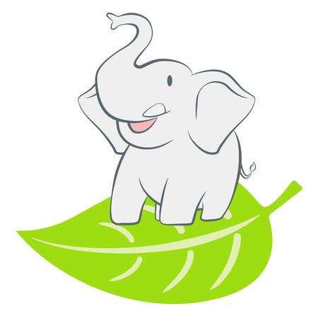 leaf logo: Elephant standing on a green leaf cartoon character vector illustration Illustration