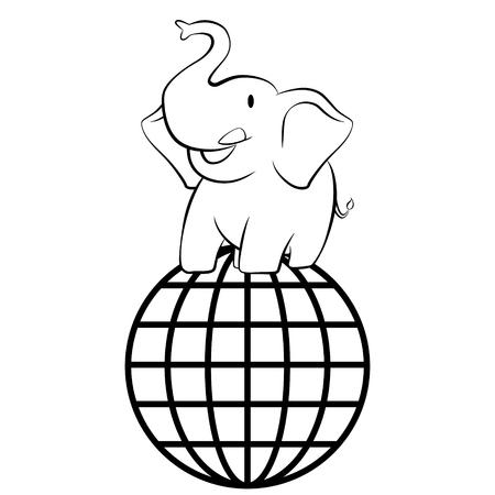 niños reciclando: Elefante que se coloca en la ilustración del vector de la red de la esfera global