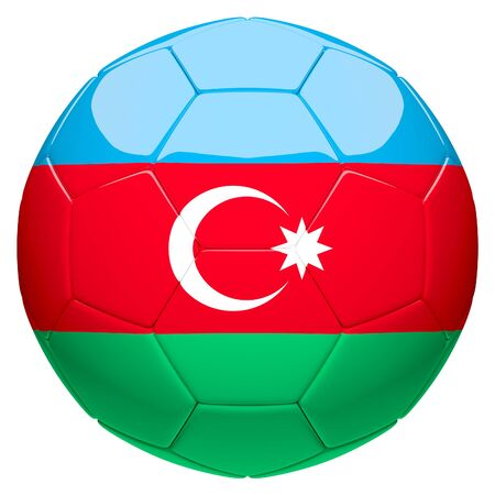 Soccer football with Azerbaijan flag 3d rendering isolated on white background