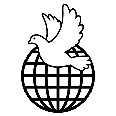 White Dove flying over sphere global grid vector illustration Иллюстрация