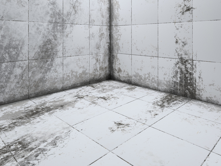더러운 흰색 타일 바닥 코너 3D 렌더링 관점